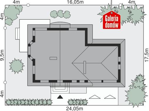 Dom przy Cyprysowej 38 - wymiary na działce