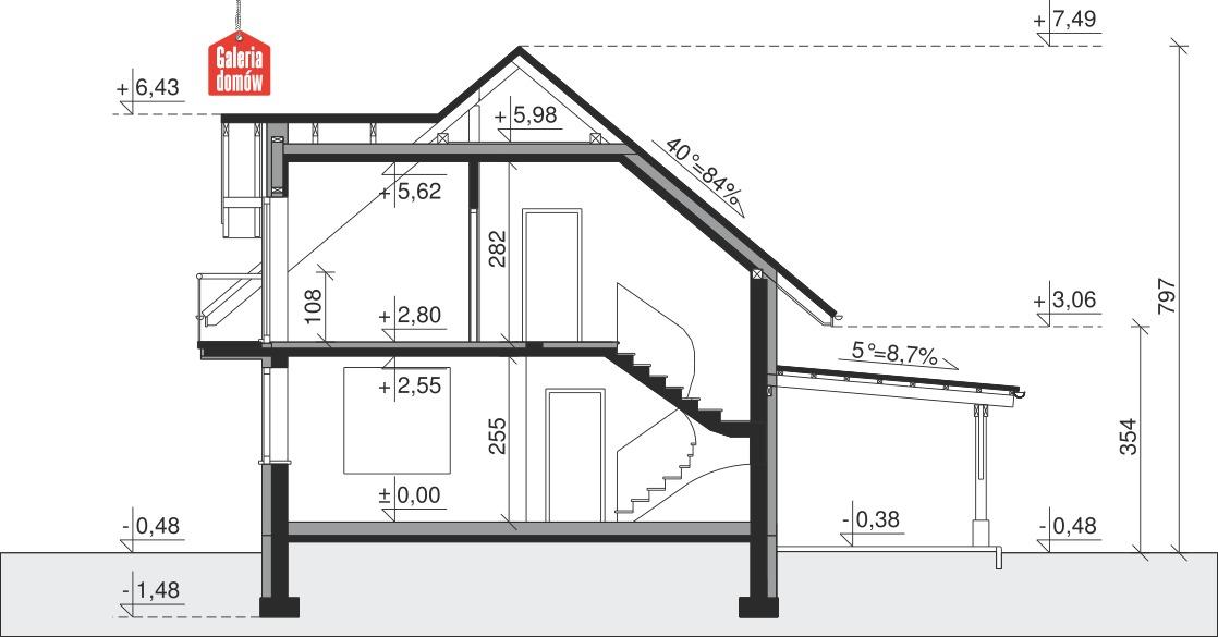Dom przy Cyprysowej 34 long - przekrój