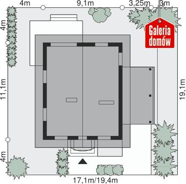 Dom przy Pomarańczowej - wymiary na działce