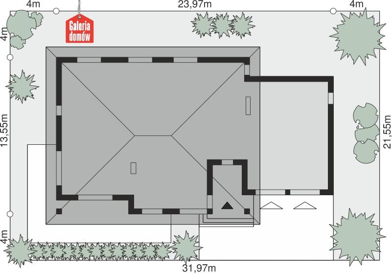 Dom przy Makowej 5 bis - wymiary na działce