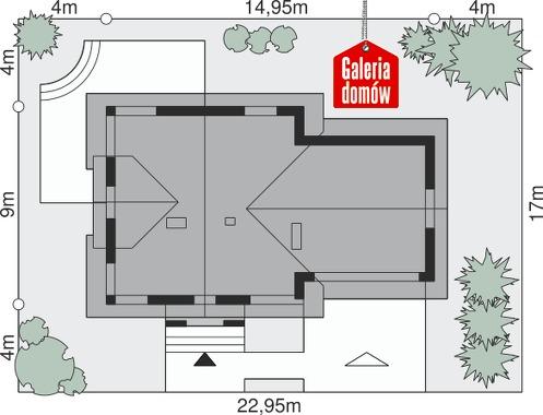 Dom przy Cyprysowej 36 - wymiary na działce