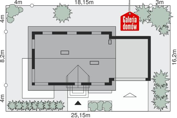 Dom przy Alabastrowej 25 - wymiary na działce