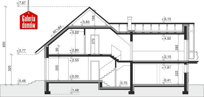 Dom przy Cyprysowej 15 K - przekrój