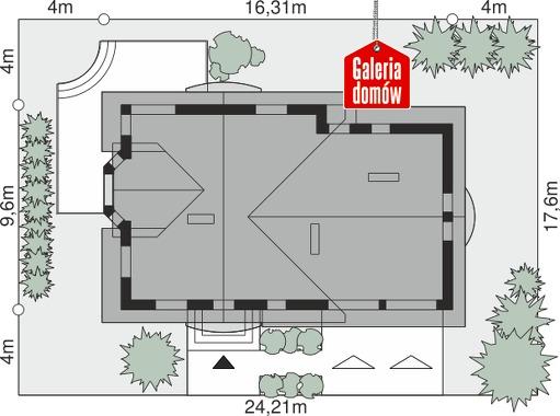 Dom przy Cyprysowej 15 K - wymiary na działce