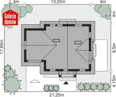 Dom przy Cyprysowej 40 - wymiary na działce