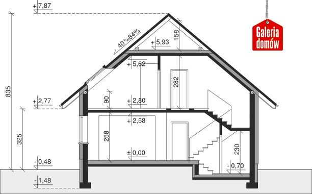 Dom przy Cyprysowej 12 K - przekrój