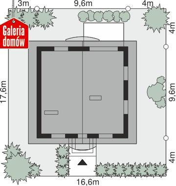 Dom przy Cyprysowej 12 K - wymiary na działce