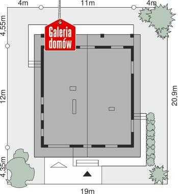 Dom przy Wiązowej - wymiary na działce