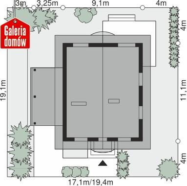 Dom przy Pomarańczowej 3 - wymiary na działce
