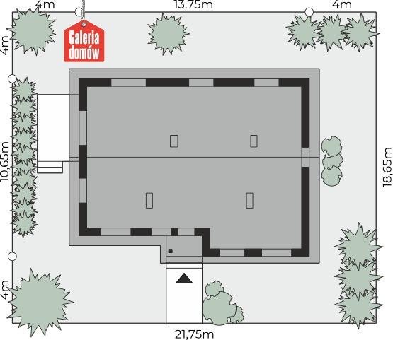 Dom przy Przyjemnej 14 bis - wymiary na działce