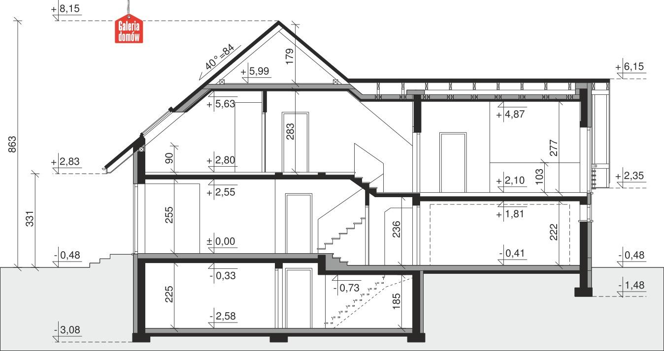 Dom przy Cyprysowej 32 - przekrój