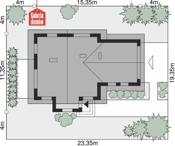 Dom przy Cyprysowej 41 - wymiary na działce
