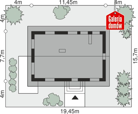 Dom przy Alabastrowej 29 - wymiary na działce
