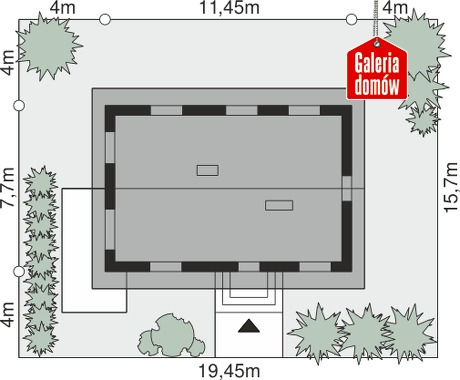 Dom przy Alabastrowej 28 - wymiary na działce