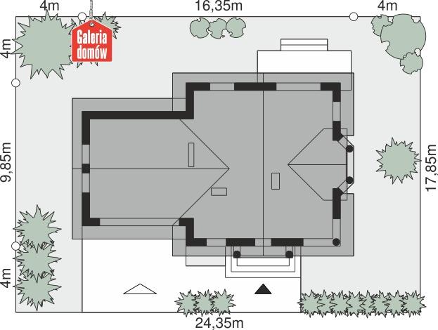 Dom przy Przyjaznej 11 - wymiary na działce