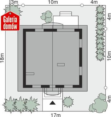 Dom przy Cyprysowej 42 - wymiary na działce