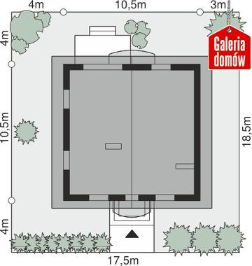 Dom przy Cyprysowej 43 - wymiary na działce