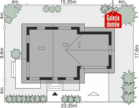 Dom przy Cyprysowej 47 - wymiary na działce