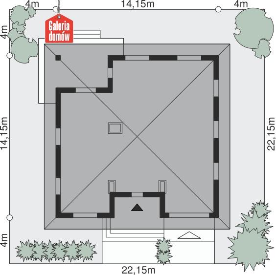 Dom przy Rubinowej 3 bis - wymiary na działce