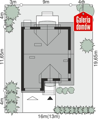 Dom przy Amarantowej - wymiary na działce