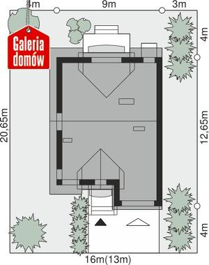 Dom przy Amarantowej 2 - wymiary na działce