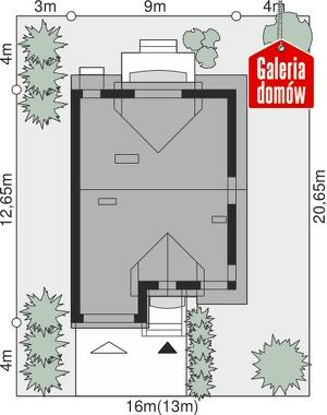 Dom przy Amarantowej 4 - wymiary na działce
