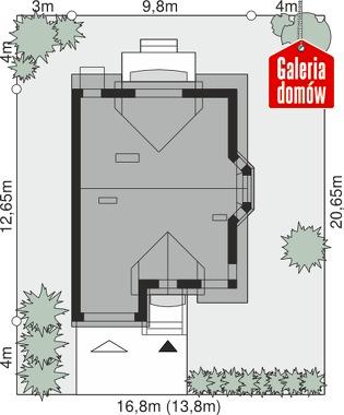 Dom przy Amarantowej 6 - wymiary na działce