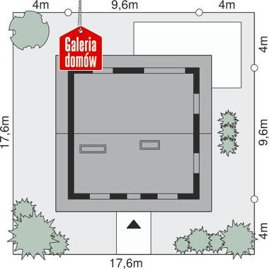 Dom przy Cyprysowej 49 - wymiary na działce