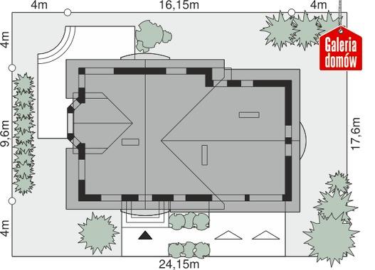 Dom przy Cyprysowej 51 - wymiary na działce