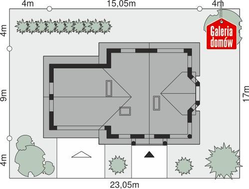 Dom przy Przyjaznej 14 - wymiary na działce