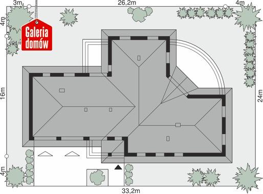 Dom przy Parkowej 2 - wymiary na działce