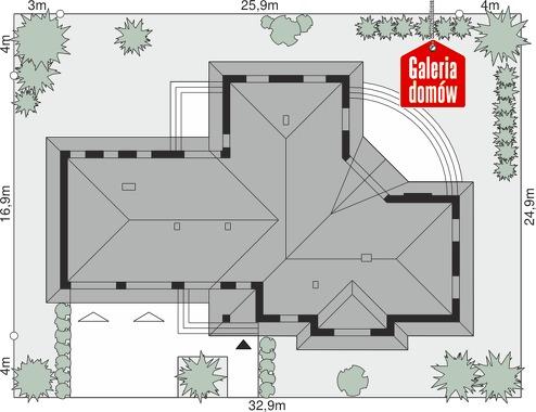 Dom przy Parkowej 3 - wymiary na działce