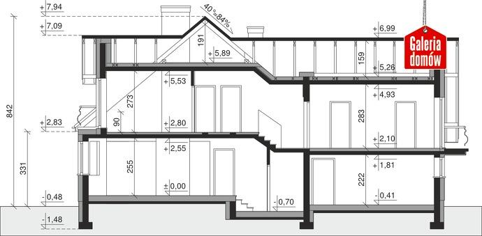 Dom przy Cyprysowej 15 S2 - przekrój