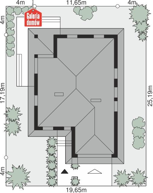 Dom przy Pastelowej 7 bis - wymiary na działce