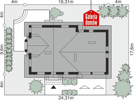 Dom przy Cyprysowej 15 K2 - wymiary na działce