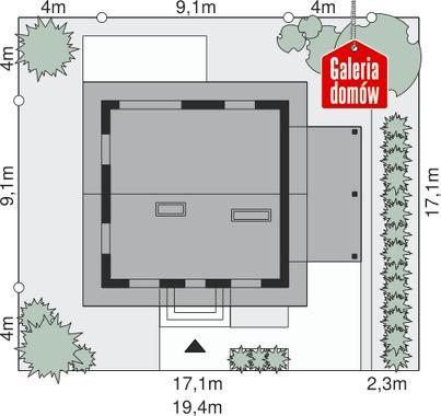 Dom przy Cyprysowej 26 N - wymiary na działce