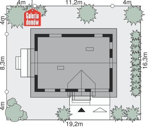 Dom przy Alabastrowej 21 N - wymiary na działce