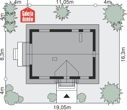 Dom przy Alabastrowej 20 N - wymiary na działce