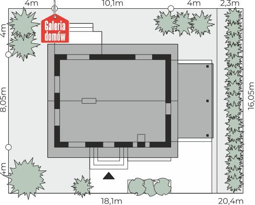 Dom przy Imbirowej 4 - wymiary na działce