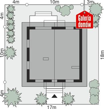 Dom przy Oliwkowej NH - wymiary na działce