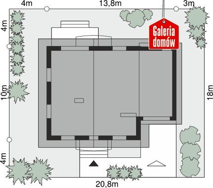 Dom przy Oliwkowej 2 - wymiary na działce