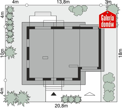 Dom przy Oliwkowej 2 N - wymiary na działce