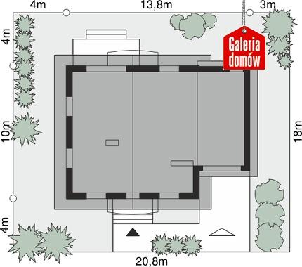 Dom przy Oliwkowej 2 H - wymiary na działce