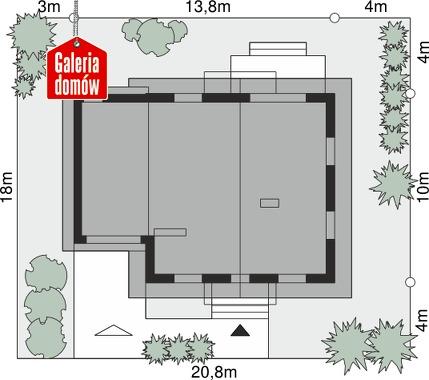 Dom przy Oliwkowej 2 NH - wymiary na działce