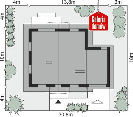 Dom przy Oliwkowej 3 - wymiary na działce