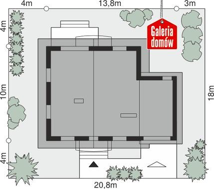 Dom przy Oliwkowej 3 H - wymiary na działce