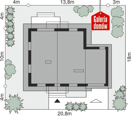 Dom przy Oliwkowej 3 N - wymiary na działce