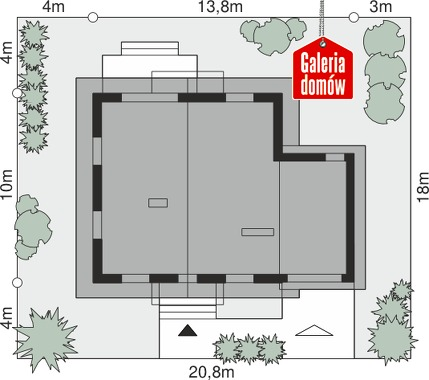 Dom przy Oliwkowej 3 NH - wymiary na działce