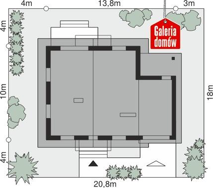 Dom przy Oliwkowej 4 N - wymiary na działce