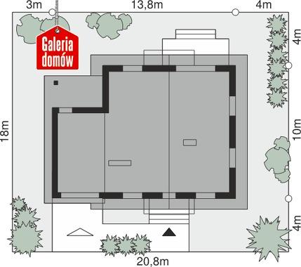 Dom przy Oliwkowej 4 NH - wymiary na działce